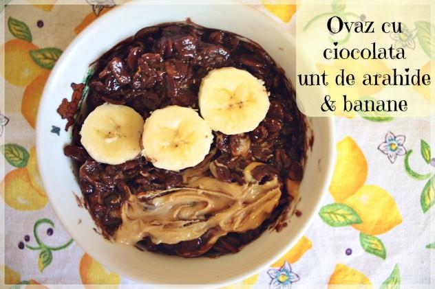 ovaz cu ciocolata unt de arahide banane