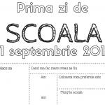 """Foaie de printat & colorat – """"Prima zi de scoala"""" 2017"""